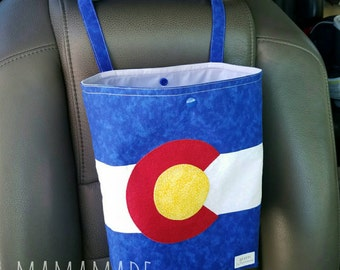 Colorado Flag - Reusable Auto Trash Bag from green by mamamade