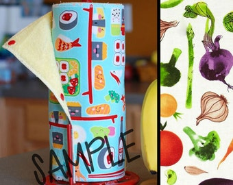 SALE - Tree Saver Towels - Tossed Veggies - Reusable, Eco-Friendly, Snapping Paper Towel Set - Cotton and Terry Cloth