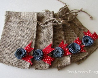 Patriotic Burlap Favor Gift Bags with Denim Flowers, Americana, Summer, Cowboy, 4th of July Set/5 6X10