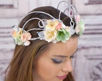 Silver Woodland Crown, Pastel, Pale Pink, Mint Green, Ivory, Woodland Headdress, Headpiece, Fairy , Elven Crown, Bridal, Wedding, Boho