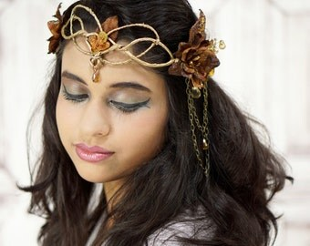 Gold Elven Crown, Autumn Elven Headpiece, Costume Headdress, Autumn Fairy, Woodland, Flower Crown, Costume, Gold and Brown, Fantasy, Cosplay