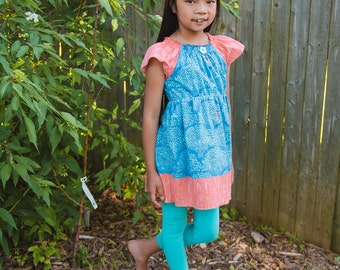 Children in the trees - Peasant tunic/dress with cap sleeve   - 2T - 7Y