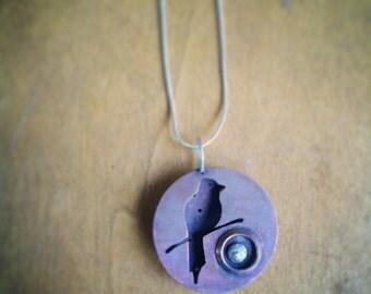 Hand pierced Bird on a Wire in copper