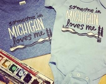 Someone in Michigan loves me - toddler tee