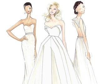Angels of the Oscars-Oscars Fashion-Lady Gaga-Olivia Wilde-Priyanka Chopra-Fashion Illustration-Brooke Hagel-Brooklet-Fashion Print-Gaga