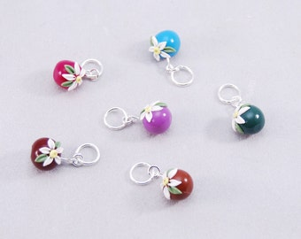Embroidered Flowers knitting or crochet stitch markers - Set of 6
