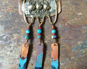 Pewter and Copper and Brass OOAK Bohemian  Necklace With Torch Fired Enamel Dangles
