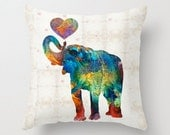 Throw Pillow Colorful Elephant Art COVER Design Home Sofa Bed Chair Couch Decor Artsy Decorating Living Room Bedroom Zoo Nursery Cute Animal