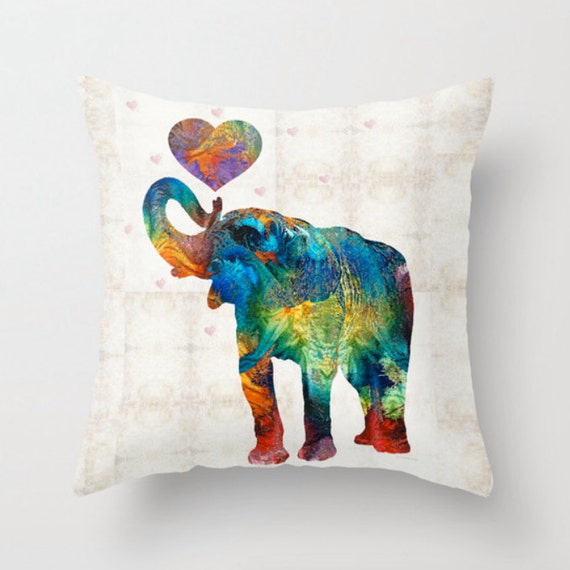 Throw pillow colorful elephant art cover design home sofa bed Colorful elephant home decor