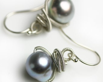 South Sea Pearl Earrings. Silvery Gray Pearl Earrings with Silver Wire Wrapping.