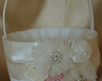 White/Ivory Flower Girl Basket-Lace Flowers Blush Accent,Rhinestone Pearls-Custom Colors-Age 8+