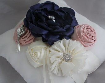 Ring Bearer Pillow Cream or White with Handmade Singed Navy Flower,  Blush Ribbon Flowers with Rhinestones and Pearls-Custom Accent Colors