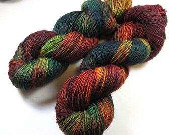Hand Painted 2-Ply Superwash Merino and Nylon Sock/Fingering -- Autumn Embers