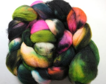 Hand Dyed Superwash BFL Blueface Leicester Combed Top, Spinning Fiber, Roving -- Emo in a Blender (110grams or 3.8 ounces)
