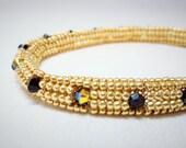 Beadwoven Soft Bangle Gold and Black Swarovski Crystals