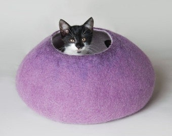 ON SALE till 30.09 Cat Nap Cocoon / Cave / Bed / House / Vessel - Hand Felted Wool - Crisp Contemporary Design - READY To Ship Warm Purple B