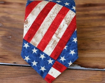Mens American pride necktie - cotton neckties for men - American flag tie - Independence Day necktie - stars and stripes ties - 4th of July