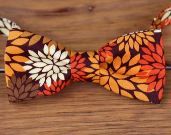 Thanksgiving Boys Bow Tie -Fall Floral Cotton Bow Tie, bowtie for infant toddler child preteen kid   Thanksgiving boys bow tie   kids ties