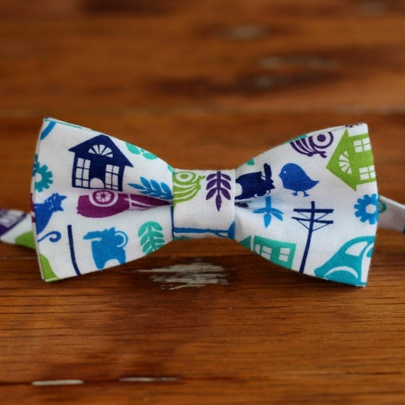 Mens Bow Tie - city scene bowtie for men and teenagers - white cotton ties with blue, green, and purple - mens bow tie