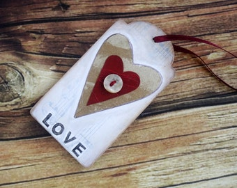 Original mini collage art on wood tag heart love button altered art small art gift, Valentine, 5th wood anniversary gift