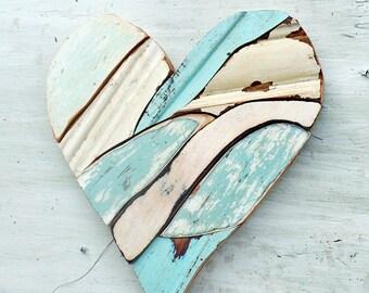 Mosaic Blue Heart, Nursery Decor, Rustic Wall Decor, Recycled Wood Art, Reclaimed Decor, Wood Wall Art,  Wooden Heart, Wooden Wall Heart
