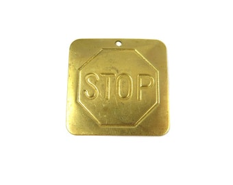 Raw Brass Stop Sign Pendants  (4x) (V092)