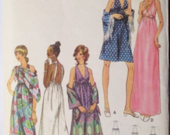 1970s Vintage Sewing Pattern Butterick 6228 Misses Evening Dress & Shawl Pattern Size 6 Bust 30 1/2