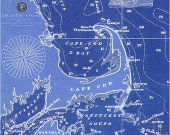 Cape Cod, Martha's Vineyard and Nantucket 1900 Nautical Chart Tea Towel in Linen and Cotton