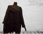 Ruffled Lagenlook Sweater 4x 5x  XXXXL XXXXXL Plus Size Eco Friendly Recycled Clothing Black Colorblock