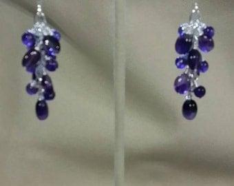 Amethyst cluster earrings
