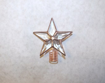 Rosemary Bush Topper, Clear Beveled Glass Star, Tiniest Rustic Tree Topper
