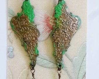 Chrysoprase Gemstones Hand-painted Mythical Wing Earrings