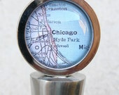 Chicago Map Wine Stopper Stainless Steel - featuring Evanston and Hyde Park PICK YOUR MAP from 46 choices - Map accessories and gifts