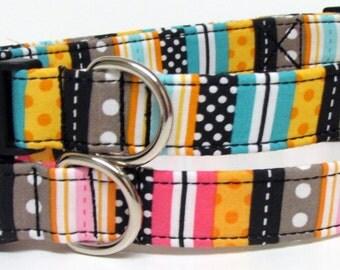 Teal or Pink Fun Striped Printed Handmade Dog Collar