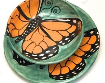 Ceramic Stoneware Monarch Butterfly Plate and Bowl Set Wabi Sabi on Jade Green BP002