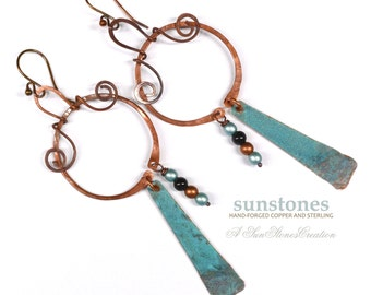 Rustic Copper Hoop Earrings  E910