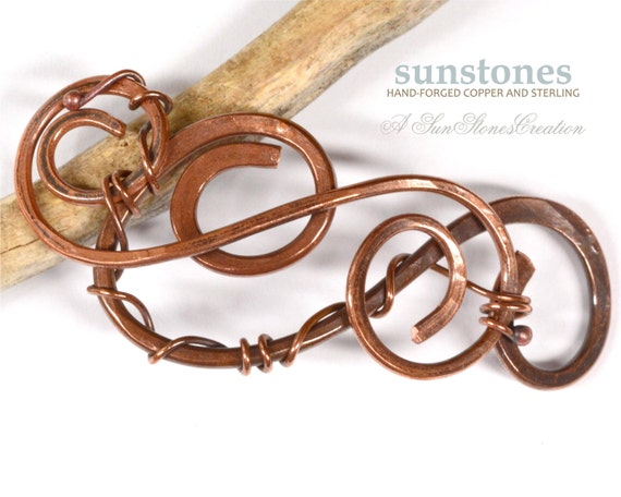 Hand forged copper bracelet focal component link