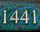 4 Digit Mosaic House Number on 12x8 inch Slate