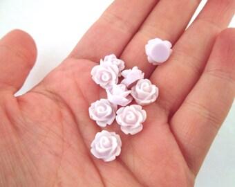 12 10mm rose cabochons, palest lavender floral cabs