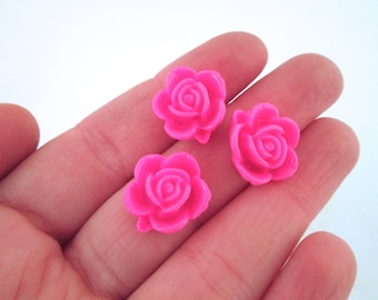 10 15mm hot pink rose cabochons, cute round flower cabs