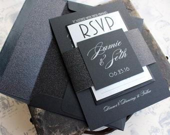 Silver on Black Wedding Invitation | Glitter Wedding Invitation - Design Fee