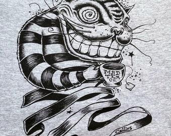 Cheshire Cat Alice in Wonderland tee shirt by Bryan Collins