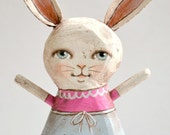 Easter Bunny Anhropomophic Rabbit Hand-Painted Wood Sculpture Original Contemporary Folk Art OOAK