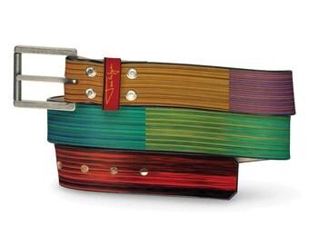Acid Drops Leather Belt, Multi-Colored Belt, Leather Belt Multi-Colored
