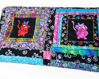 Original Patchwork Quilt, Funny Cats and Silly Dogs