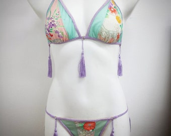 Kyoto Sugar  vintage kimono silk and mint glitter sheer mesh burlesque/lingerie set size AUS/UK 10-12