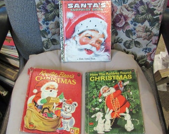 Vintage Christmas Books Santa's Surprise Book How the Rabbits Found Christmas Kewtee Bears Christmas