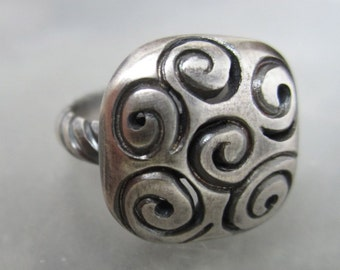 Sterling Silver Swirl Ring with Carved Sterling Silver Band size 7, domed swirl pattern ring, chunky square ring