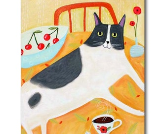 LARGE Tuxedo cat painting Big kitty with cherries and tea Kitchen art cat folk art by Tascha 20x16