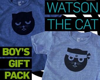 Cat Shirt Boys Graphic Tee, Boys Gift Pack, Kung Fu & Sleepy Watson the Cat, Hipster, Kawaii, Baby Boy Shower Gift, Kids Gift, Boys Gift